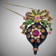Signed Christopher Radko Vintage Rhinestone Christmas Ornament Convertible Brooch Pendant Necklace.