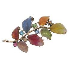 Gorgeous Vintage Art Glass Leaves Pastel Rhinestones Brooch