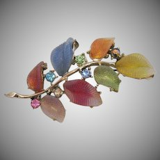 Gorgeous Vintage Art Glass Leaves Pastel Rhinestones Brooch