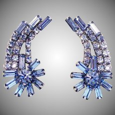 Gorgeous Vintage Floral Ear Crawler Blue Baguette Chaton Rhinestone Silver Clip Earrings
