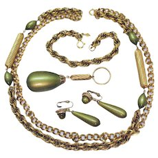 Rarest Vintage Parure Signed Sarah Coventry Golden Avocado Moonglow Necklace Bracelet Earrings Set