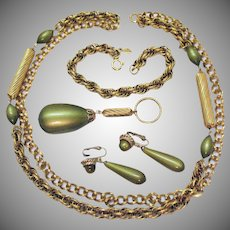 Rarest Vintage Parure Signed Sarah Coventry Golden Avocado Moonglow Necklace Bracelet Earrings Set