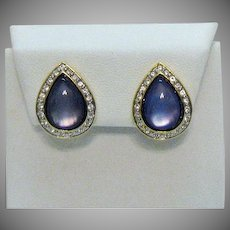 Vintage Color Changing Purple Glass Tear Drop Clip Earrings Pava Rhinestones Unworn