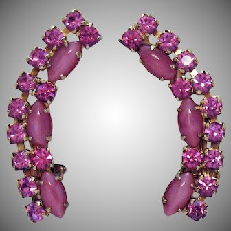 Stunning Brilliant Pink Glass Moonstone Rhinestones Ear Crawler Clip Earrings
