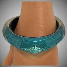 Abstract Lucite Glitter Clear Vintage Large Bangle Bracelet