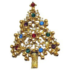 Amazing Signed Eisenberg Vintage Rhinestone Christmas Tree Brooch X 2