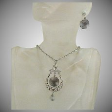 Silvery Vintage Signed Sarah Coventry Necklace Pierced Earrings Set