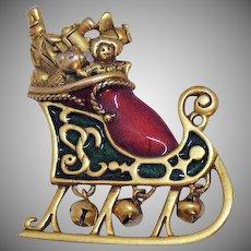 Signed Danecraft Bold Vintage Enameled Christmas Santa Claus Stocking Sleigh Brooch
