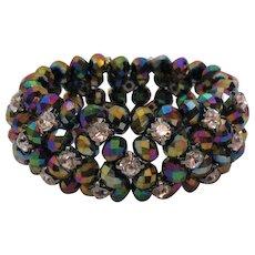 Stunning Wide Stretch Bracelet Vintage Rhinestones Opaque Metallic Iris Dark Blue Faceted Glass Beads