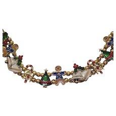 Rare Signed Avon Vintage Beaded Slide Charm Christmas Bracelet UNWORN