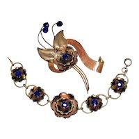 Rare Signed Harry Iskin Vintage 10K Gold Filled Sapphire Glass Rhinestone Brooch Bracelet Set
