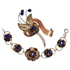 Rare Signed Harry Iskin Vintage 10K Gold Filled Sapphire Glass Rhinestone Brooch Bracelet Set