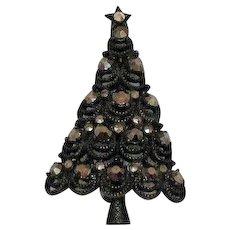 Rare Signed Pakula Vintage Hematite Marcasite Gunmetal Christmas Tree Brooch