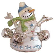Signed TC Tanya's Creations Vintage Snowman Bell Charm Brooch 'Jingle all the Way'