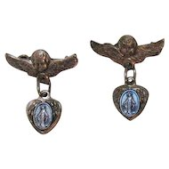 Rare Antique Italian Sterling Silver Winged Angel Immaculate Conception Charm Scatter Pins Brooches