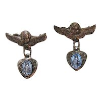 Rare Antique Italian Sterling Silver Winged Angel Immaculate Conception Charm Scatter Pins Brooches Free Shipping