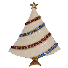 Signed Eisenberg Ice Fabulous Vintage Enameled Rhinestone Christmas Tree Brooch