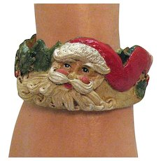 Very Rare Signed Jim Shore 1992 Hand Carved Syroco Wood Painted Vintage Christmas Santa Claus Cuff Bracelet