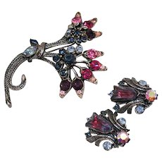 Unusual Signed Florenza Vintage Large Rhinestone Givre Tulip Glass Stones Brooch Earrings Set