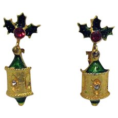 Vintage Christmas Dangle Ornament Enameled Rhinestone Clip Earrings