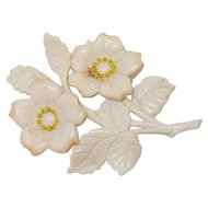 Large Vintage French Ivory Celluloid Flower Brooch