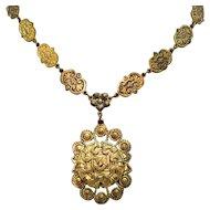 Antique Taille de epargne enameling Edwardian Brass Floral Necklace