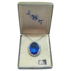 Very Rare Signed Hedy Sterling Silver New Vintage Huge Sapphire Blue Glass Faux Diamond Necklace Brooch Convertible Original Box