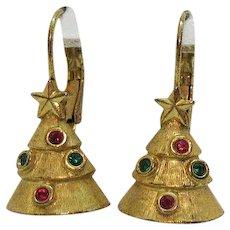 Awesome Vintage Figural Christmas Tree Golden Metal Rhinestones Pierced Earrings