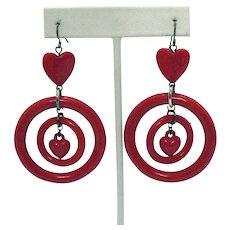 Fabulous Vintage Red Lucite Double Heart Hoop Pierced Earrings