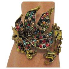 Stunning Bold Vintage Floral Vine Figural Butterfly Rhinestone Hinged Clamper Bracelet