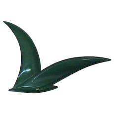 Signed Buch Deichmann Denmark # 4 Abstract Lucite Bird in Flight Brooch