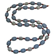 Rare Signed Monet Vintage Periwinkle Lucite Grey Swirl Beaded Cinnabar Necklace
