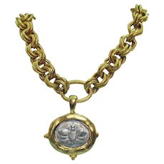 Vintage Etruscan Style Heavy Old World Bumble Bee Coin Necklace 106 Grams!