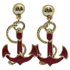 Awesome Nautical Red Enameled Anchor Vintage Pierced Earrings