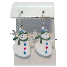 Cutest Vintage Figural Snowman Enameled Pierced Earrings