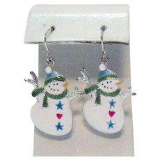 Cutest Vintage Figural Snowman Enameled Pierced Earrings