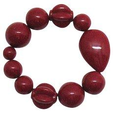 Unique Vintage Lipstick Red Carved Lucite Beaded Stretch Bracelet