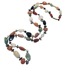 Gorgeous Vintage Polished Semi Precious Gemstone Nugget Necklace
