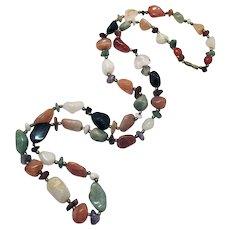 Gorgeous Vintage Polished Semi Precious Gemstone Nugget Necklace