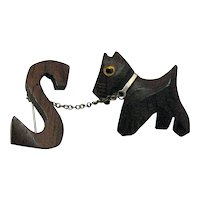 Vintage Hand Carved Wooden Figural Scotty Dog Brooch Initial S Chain Glass Eye
