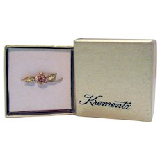 Signed Krementz Vintage 14K Yellow Rose Gold Overlay Floral Clutch Pin Brooch Original Box American Made!