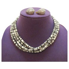 Book Avon Vintage 1988 Sirocco Rope Tribal Necklace Pierced Earrings Set~Unworn FREE SHIPPING