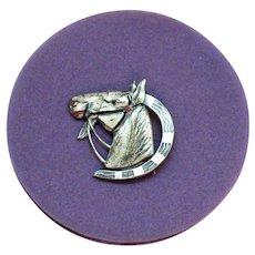 Rare Signed Uncas Sterling Silver Figural Horse Shoe Enameled Brooch