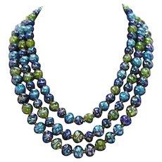 Gorgeous Vintage Signed Austria Iridescent Lucite Three Strand Necklace Jewel Tone Beads