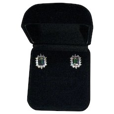 Stunning Vintage Signed VJ Emerald Cut Mystic Topaz CZ Hallo Sterling Silver Pierced Earrings Original Box