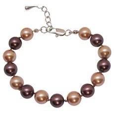 Vintage Cultured Pearl 10 mm Champagne Chocolate Knotted Bracelet