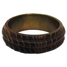 Exceptional Vintage Natural Wood Wrapped Brass Bangle Bracelet