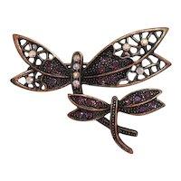 Beautiful Vintage Copper Double Rhinestone Figural Butterfly Brooch