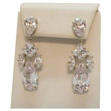 Fabulous Over the Top Chandler Vintage Cubic Zirconia Pierced Earring~Unworn!