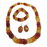 Amazing Vintage Confetti Lucite Parure Necklace Stretch Bracelet Pierced Earrings FREE SHIPPING